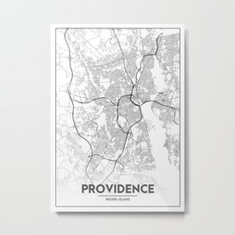 Minimal City Maps - Map Of Providence, Rhode Island, United States Metal Print