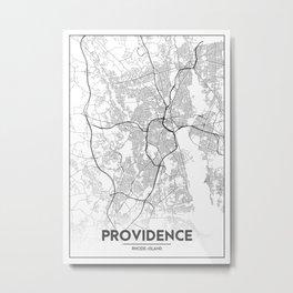 Minimal City Maps - Map Of Providence, Rhode Island, United States Metal Print