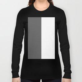 White and Dark Gray Vertical Halves Long Sleeve T-shirt