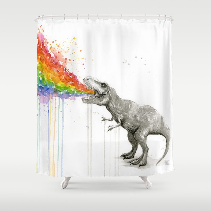 T-Rex Dinosaur Rainbow Puke Taste the Rainbow Watercolor Shower Curtain