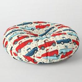 Winter Vintage Trucks Floor Pillow