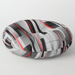 Off the Grid - Abstract - Gray, Black, Red Floor Pillow