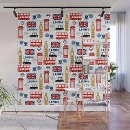 London travel pattern cute england print for nursery kids room boys or girls decor Wall Mural