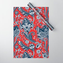 Red White & Blue Floral Paisley Wrapping Paper