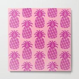 Retro Mid Century Modern Pineapple Pattern 526 Metal Print