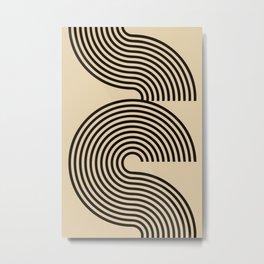 70s Style Retro Mid Century Modern Art Abstract Minimalist Geometrical Neutral Earthy Tones  Metal Print