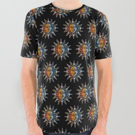Celestial Mosaic Sun and Moon All Over Graphic Tee