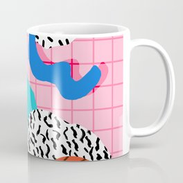 Hot Hand - memphis retro throwback neon grid pattern minimal modern pop art basketball sports Coffee Mug