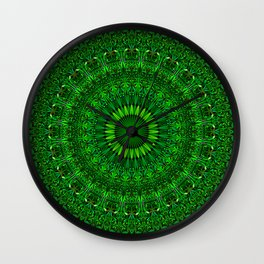 Green Garden Mandala Wall Clock