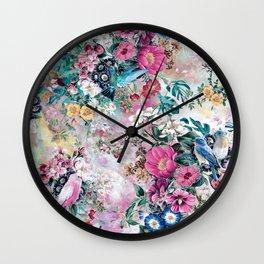 Birds in Flowers Wall Clock