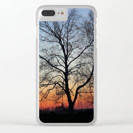 Sunset tree Clear iPhone Case