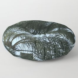 Gentle Palm Tree Leaves Accented by Blue Sky Floor Pillow
