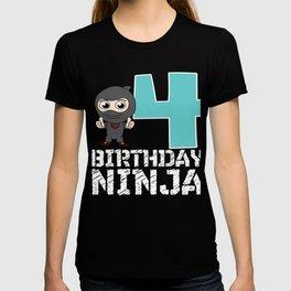 Birthday Ninja Party 4th Samurai Ninjas Gift Japanese Ninja stars Fighter Gift T-shirt