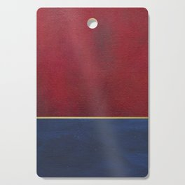 Deep Blue, Red And Gold Abstract Painting Cutting Board