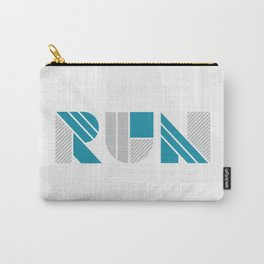 Run - Teal & Silver Geometric Shapes Carry-All Pouch