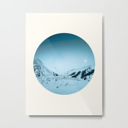 Mid Century Modern Round Circle Photo Snow Covered Winter Mountain Valley Metal Print