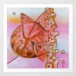 Something Jurassic In Pink & Brown Art Print