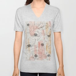 Watercolor Poppies Seamless Print Unisex V-Neck
