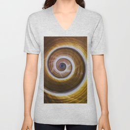 Brown and yellow spiral shell pattern Unisex V-Neck