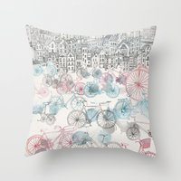 city Throw Pillows featuring Old Town Bikes by David Fleck