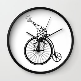 Giraffe Riding A Penny-Farthing Bicycle Wall Clock