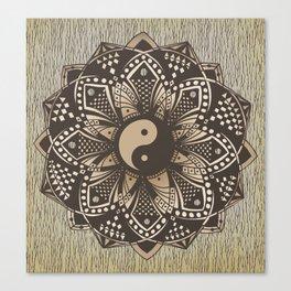 """Yin and Yang """"Sepia"""" Mandala Canvas Print"""