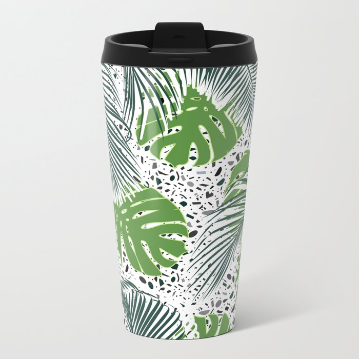 Green tropical leaves on terrazzo pattern Metal Travel Mug