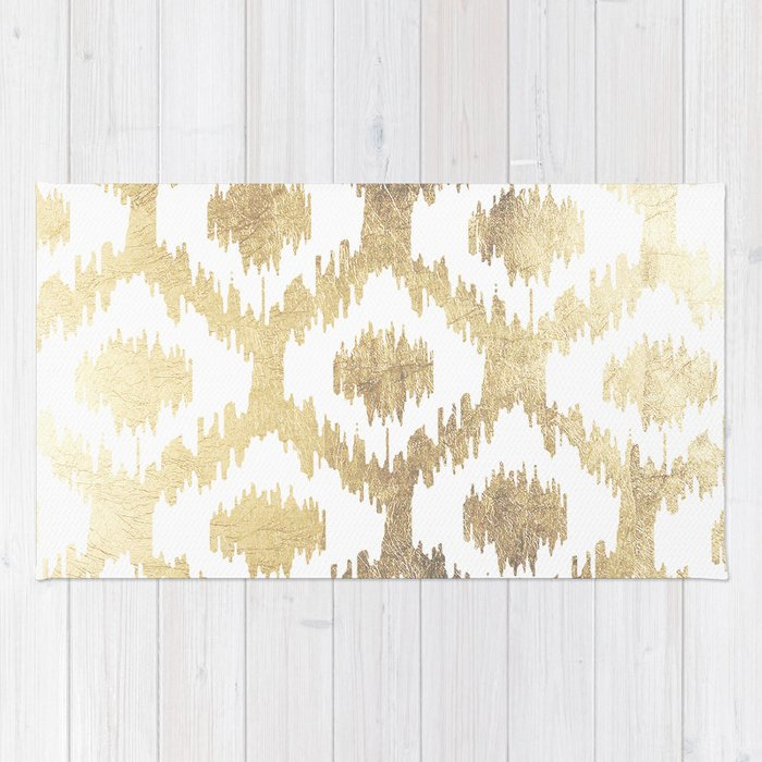 Modern White Hand Drawn Ikat Pattern Faux Gold Rug By Pink