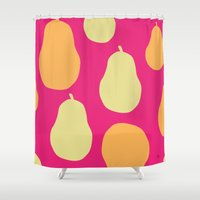 pear Shower Curtains featuring Pear  by HeartWork Brand
