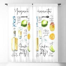 Margarita Recipe Watercolor Illustration Blackout Curtain