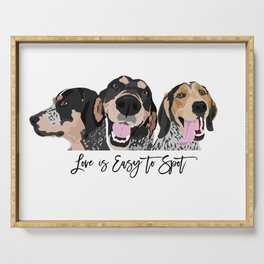 Love is Easy to Spot Bluetick Coonhound Serving Tray