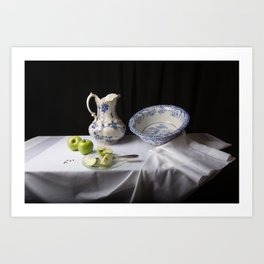 Delft blue and green apples still life Art Print