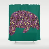 manatee Shower Curtains featuring Flower Manatee by Crayle Vanest