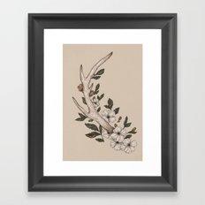 Floral Antler Framed Art Print