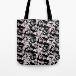 Frost Flower Abstract In Pink And Black Tote Bag