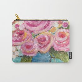 Shabby Chic Pink Rose Farmhouse Flowers Carry-All Pouch