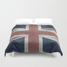UK Flag, Grungy Desaturated 3:5 scale Duvet Cover