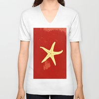 seashell V-neck T-shirts featuring red seashell by gzm_guvenc
