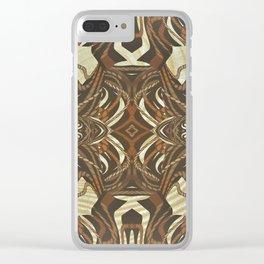 Neo-Tribal Woodwork Mandala Print Clear iPhone Case