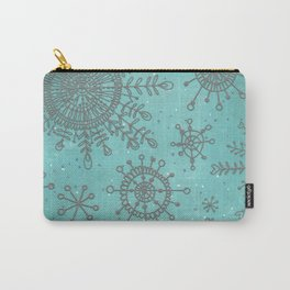 Blue and Silver Snowflakes Carry-All Pouch