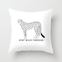 Stay wild forever - black leopard Throw Pillow