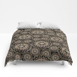 Rose Gold on Black Mandala Repeated Pattern Comforters
