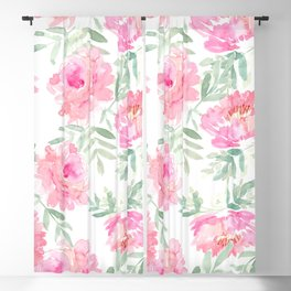 Watercolor Peonie with greenery Blackout Curtain