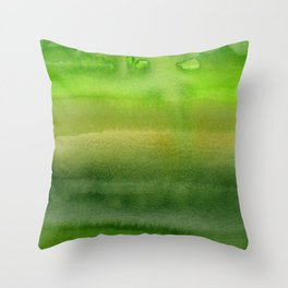 Spring Greens Abstract Watercolor Horizontal Pattern Throw Pillow