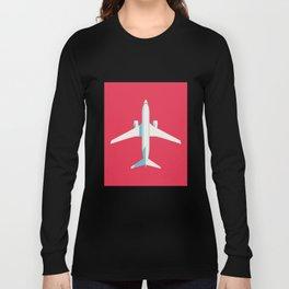 737 Passenger Jet Airliner Aircraft - Crimson Long Sleeve T-shirt