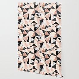 Modern black white marble rose gold glitter foil geometric abstract triangles pattern Wallpaper