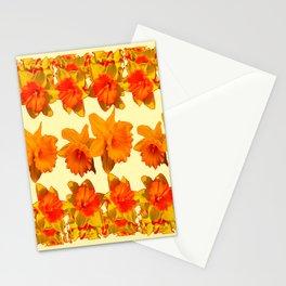 CREAM COLOR GOLDEN DAFFODILS GARDEN ART DESIGN Stationery Cards