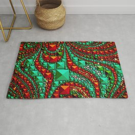 Abstract Gems in Aqua and Red Rug