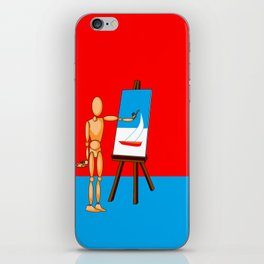 A Wooden Model Paints a Nautical Scene iPhone Skin