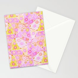 Pastel Patchwork Flower Garden, Soft Lavender, Lilac Purple and Pink Floral Quilt Repeat Pattern Stationery Cards